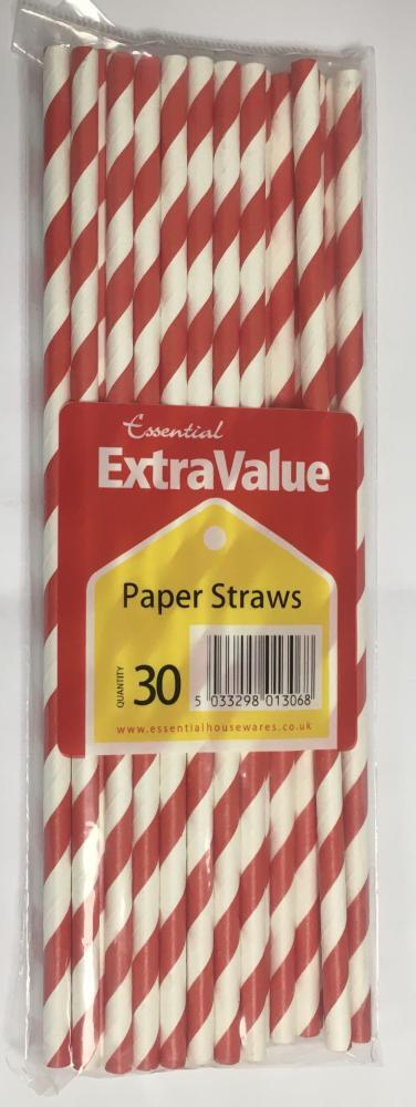 Essential Extra Value Paper Straws 30 Pack