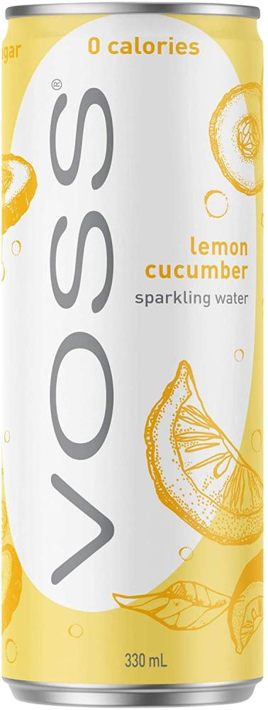 Voss Lemon Cucumber Flavoured Sparkling Water Can 330ml