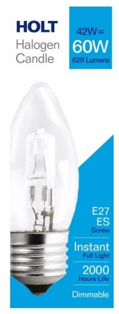 Holt Halogen Clear Candle Light Bulb 42w E27ES