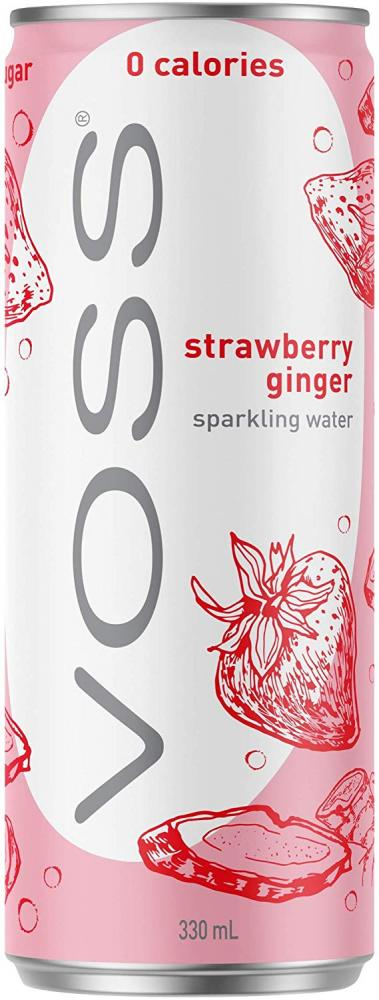 Voss Strawberry Ginger Flavoured Sparkling Water Can 330 ml