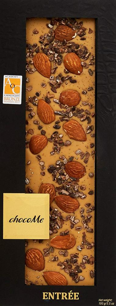 ChocoMe Entree Blonde Chocolate with Ground Cocoa Beans and Creamy Sicilian Almonds 110g