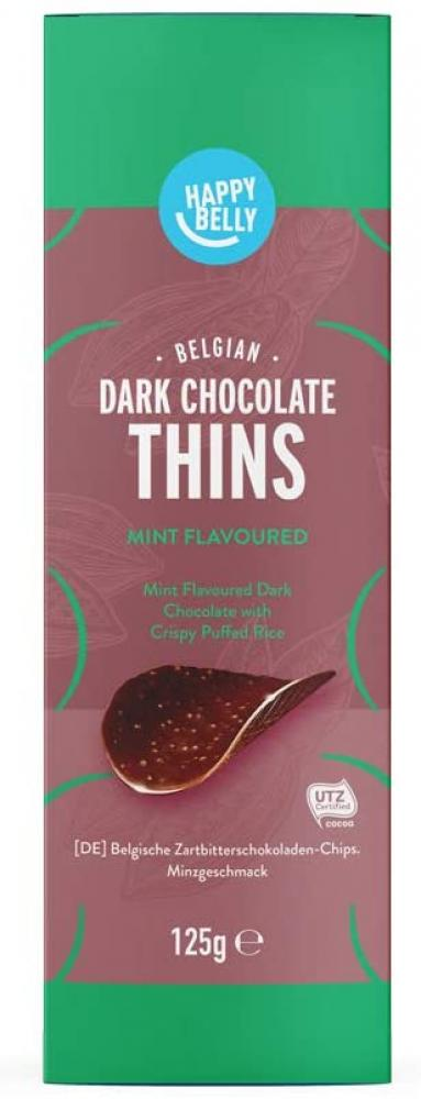 Happy Belly Mint Flavoured Dark Chocolate with Crispy Puffed Rice 125g