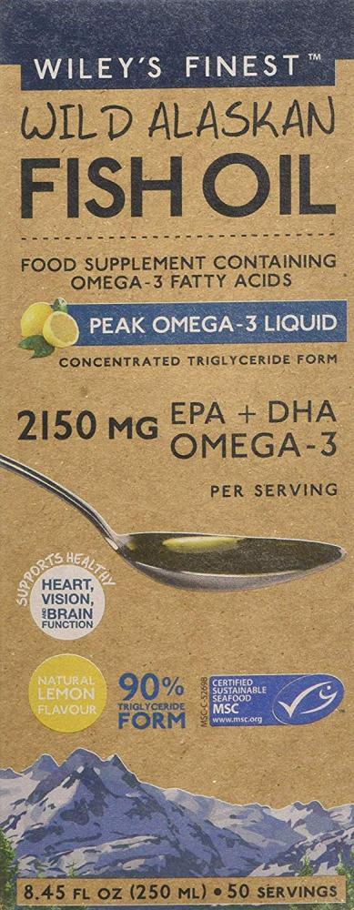 Wileys Finest Wild Alaskan Peak Omega-3 Liquid Supplement 250 ml