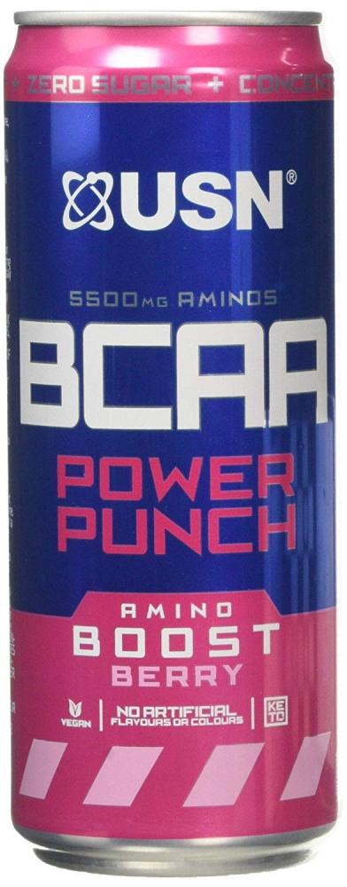 USN BCAA Power Punch Can Amino Boost Berry 330 ml