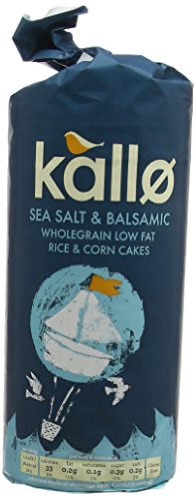 Kallo Sea Salt and Balsamic Wholegrain Low Fat Rice and Corn Cakes 127g