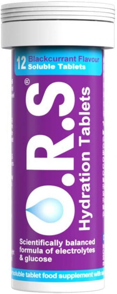 ORS Hydration Tablets with Electrolytes Blackcurrant Flavour 12 tablets