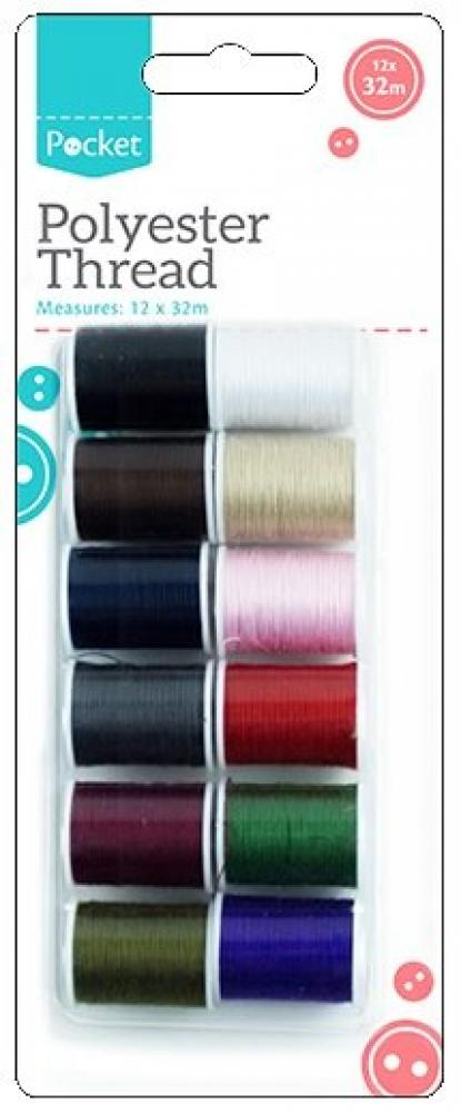 Pocket Polyester Thread 32m 12 pack