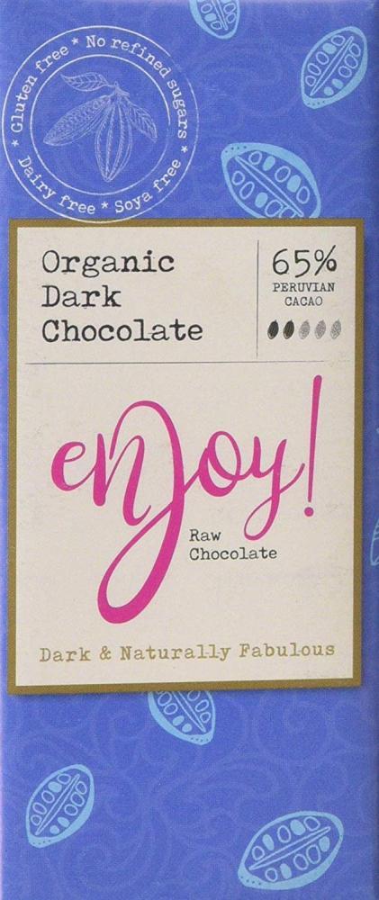 Enjoy Raw Chocolate 65 Percent Organic Dark Chocolate Bar 40g