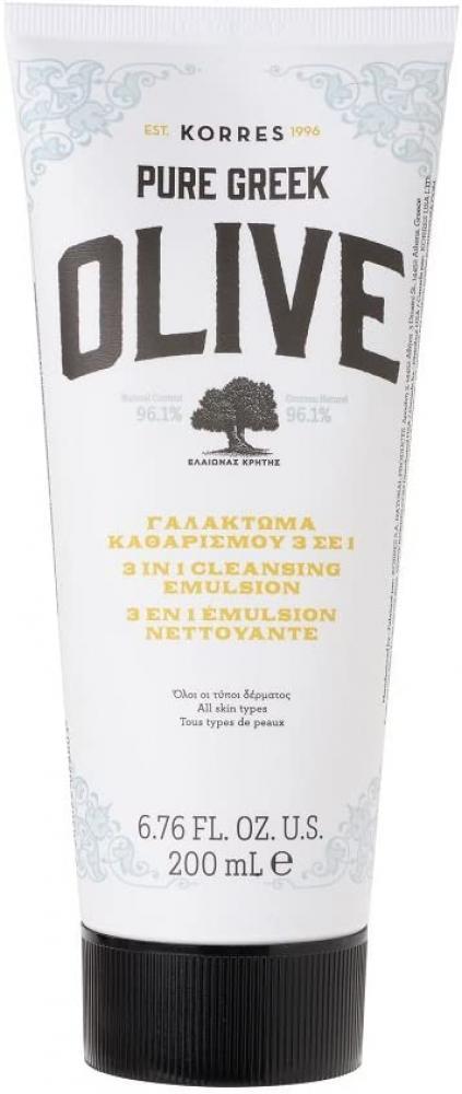 SALE  KORRES Natural Pure Greek Olive 3 In 1 Cleansing Emulsion 200ml