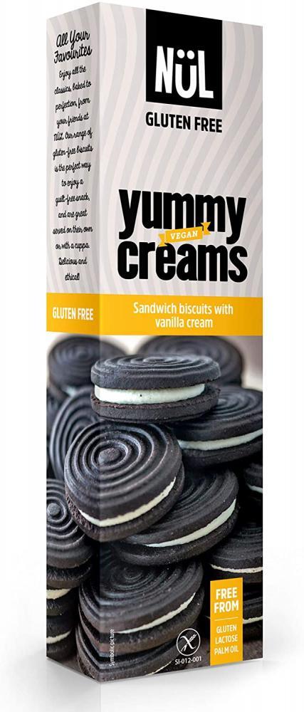 Nul Gluten-Free Dark Sandwich Biscuits with Vanilla Cream 125g