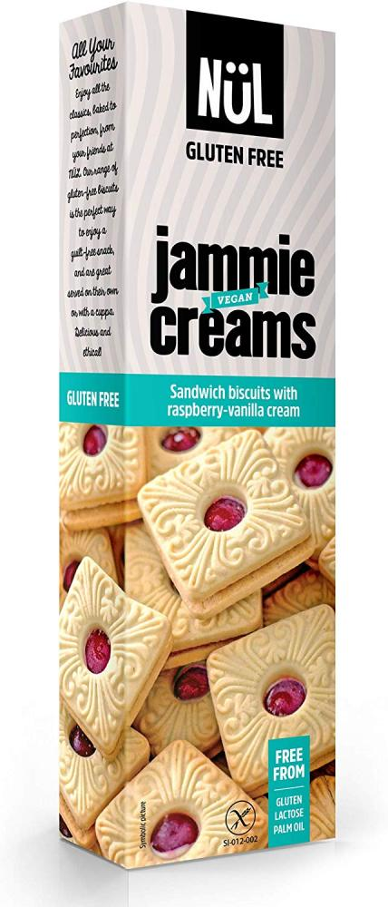 Nul Gluten-Free Sandwich Biscuits with Raspberry-Vanilla Cream and Raspberry Fruit Filling 115 g