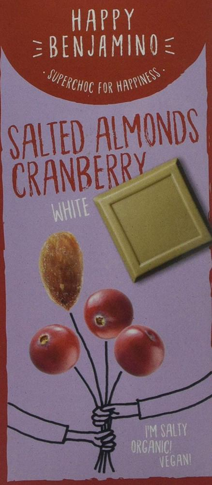 Happy Benjamino Salted Almond Cranberry White Bar 70g