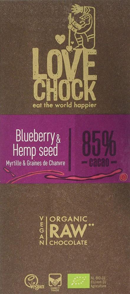 Lovechock Organic Blueberry and Hemp Seed Chocolate Bar 70g