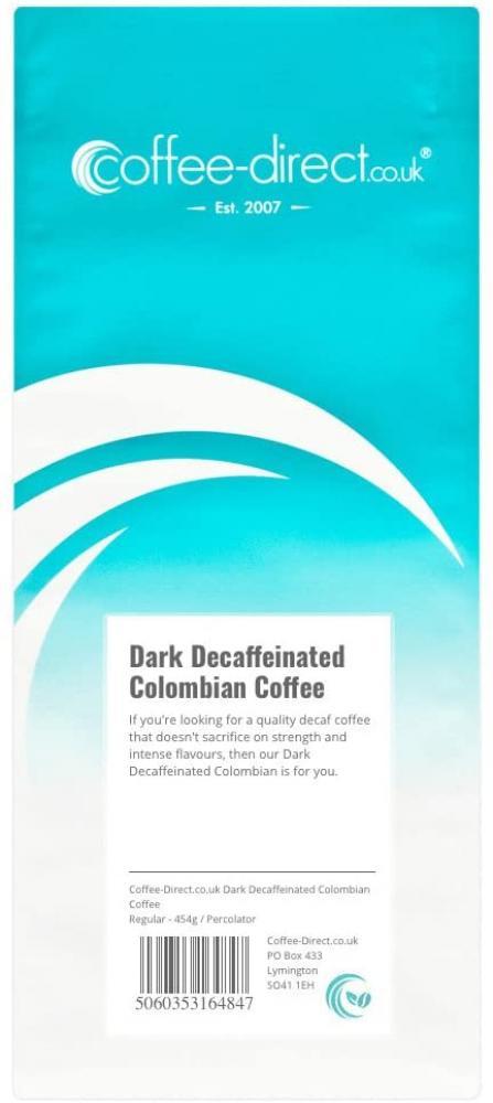 Coffee Direct Dark Decaf Colombian Coffee Percolator Grind 454g