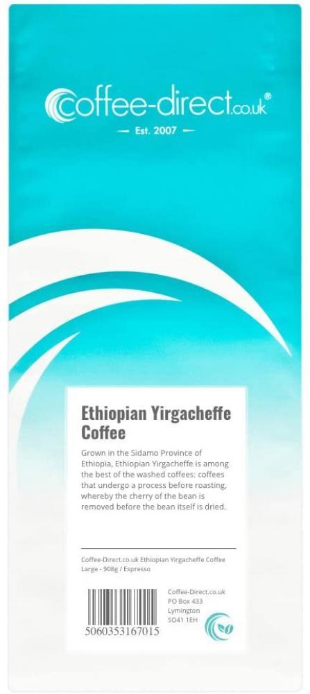 Coffee Direct Ethiopian Yirgacheffe Coffee Espresso Grind 908g