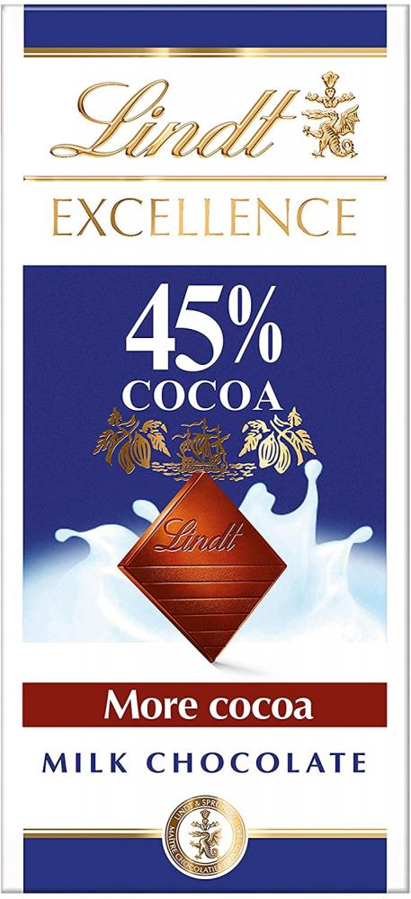 Lindt Excellence Milk 45 Percent Cocoa Chocolate Bar - High Cocoa 80 g