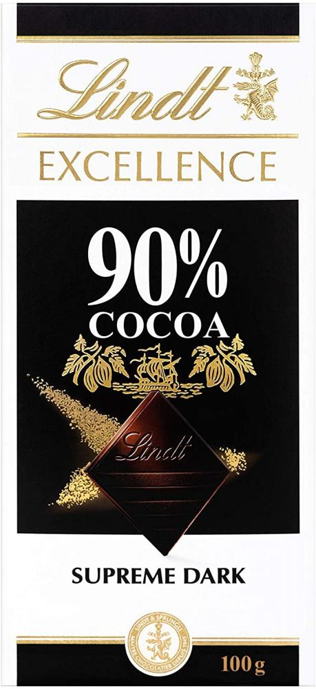 Lindt Excellence Supreme Dark 90 Percent Cacao Chocolate Bar 100g
