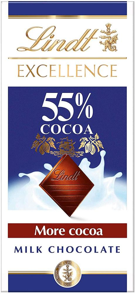 Lindt Excellence Milk 55 Percent Cocoa Chocolate Bar 80 g