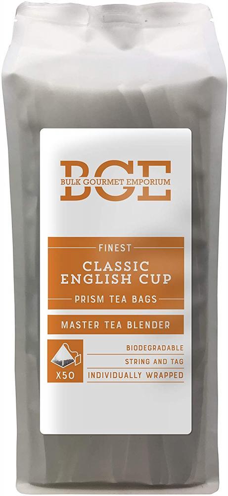 Bulk Gourmet Emporium Finest Classic English Cup TeaIndividually Wrapped Biodegradable Prism Tea Bags 50 teabags
