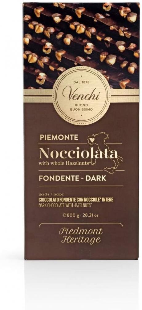 Venchi Maxi Dark Chocolate Bar with Whole Piedmont Hazelnuts 800 g