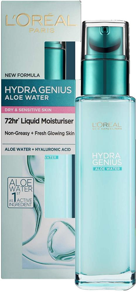 Loreal Paris Hydra Genius Hyaluronic Acid plus Aloe Liquid Moisturiser for Dry to Sensitive Skin 70 ml