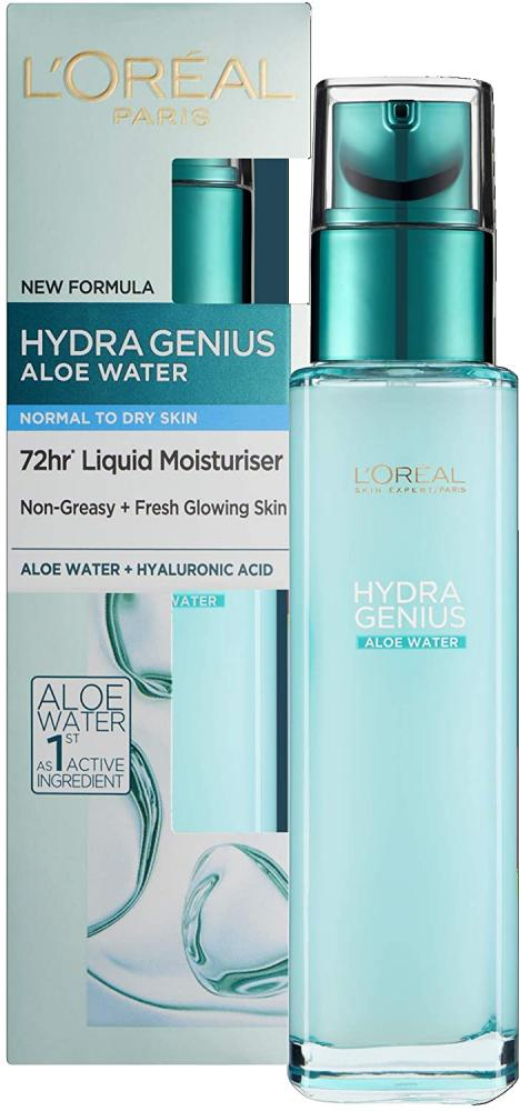 Loreal Paris Hydra Genius Hyaluronic Acid Aloe Liquid Moisturiser for Normal to Dry Skin 70ml Damaged Box