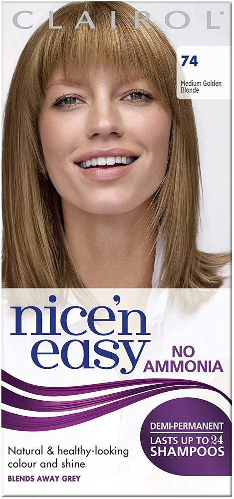 Clairol Nicen Easy Semi-Permanent Hair Dye No Ammonia 74 Medium Golden Blonde