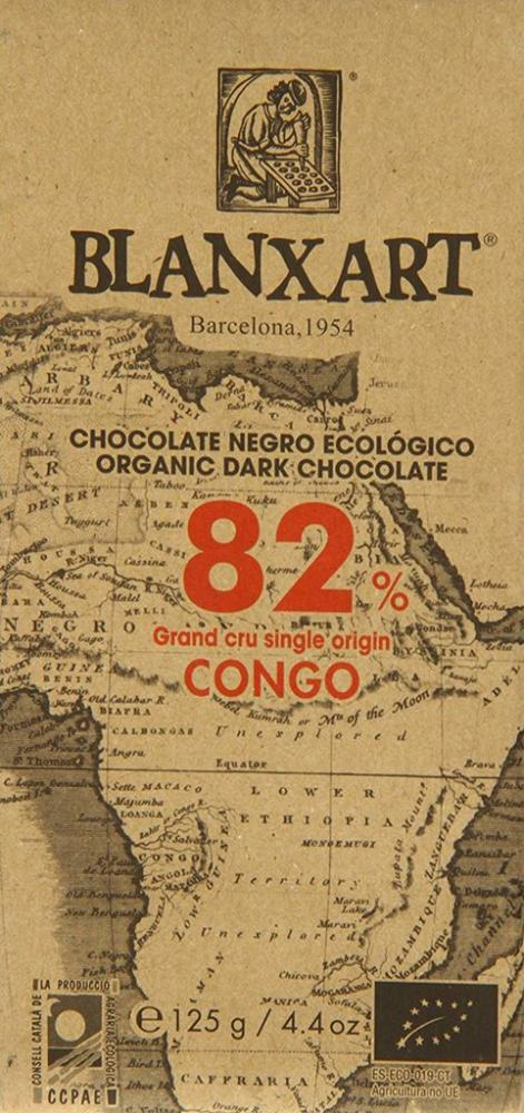Blanxart Organic Congo 82 Percent Dark Chocolate Bar 125g