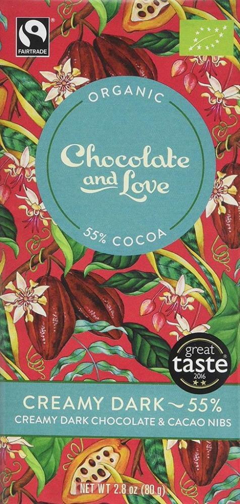 Chocolate and Love Love Creamy Dark 55Percent Chocolate and Cacao Nibs 80g