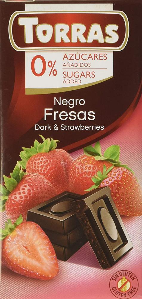 Torras No Added Sugar Dark Chocolate Bar with Strawberry 75g