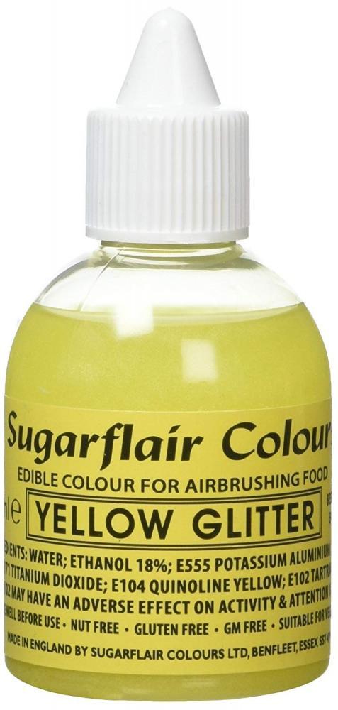 Sugarflair Colours Yellow Glitter Airbrush Colour 60ml