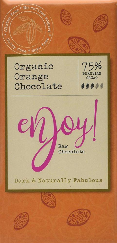 Enjoy Raw Chocolate Organic Orange Chocolate 80g