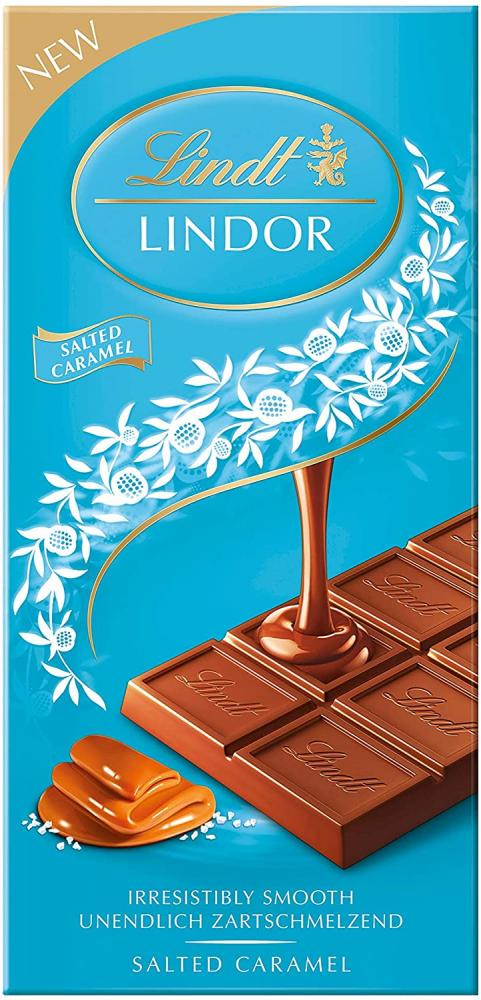 Lindt Lindor Milk Chocolate Salted Caramel Bar 100g
