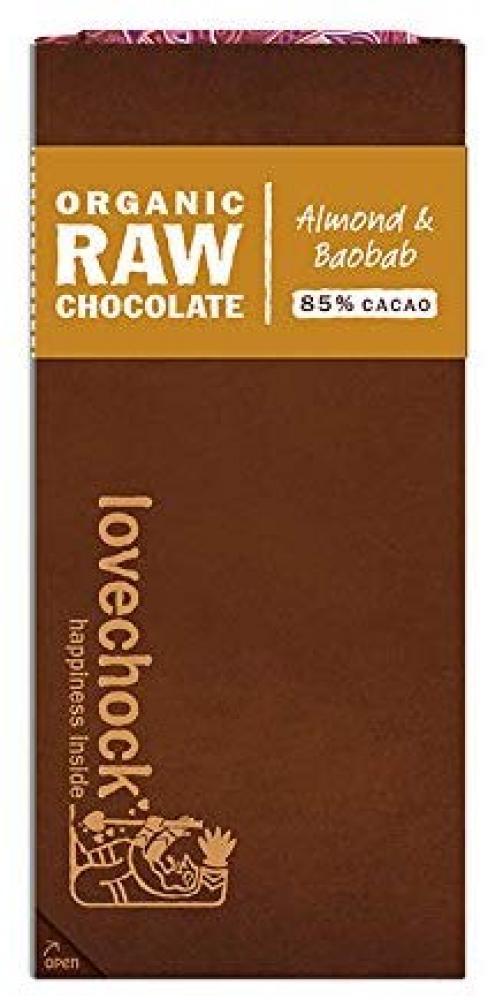 Lovechock Raw Organic Almond and Baobab Chocolate Bar 70g
