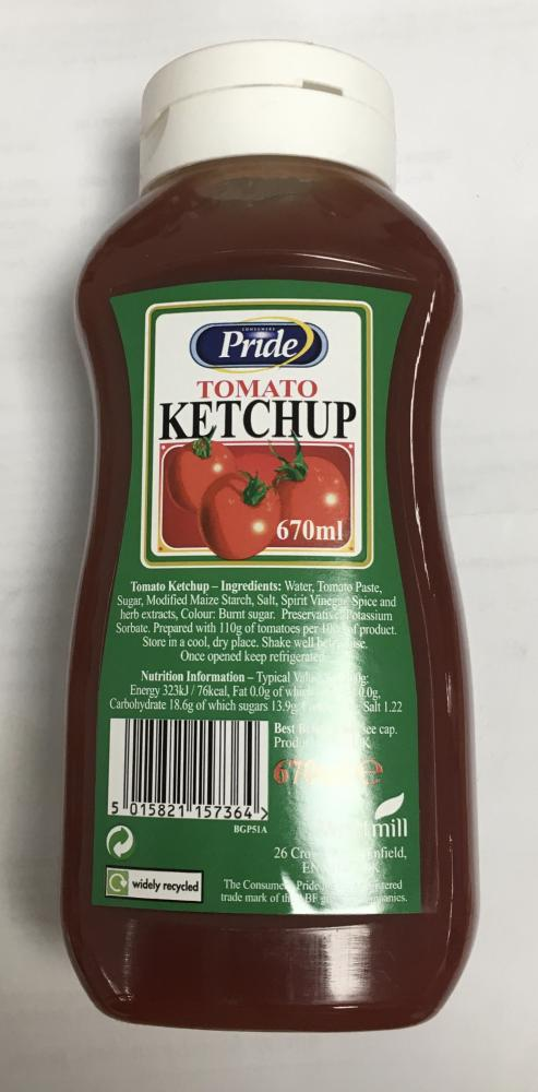 WEEKLY DEAL  Pride Tomato Ketchup 670ml
