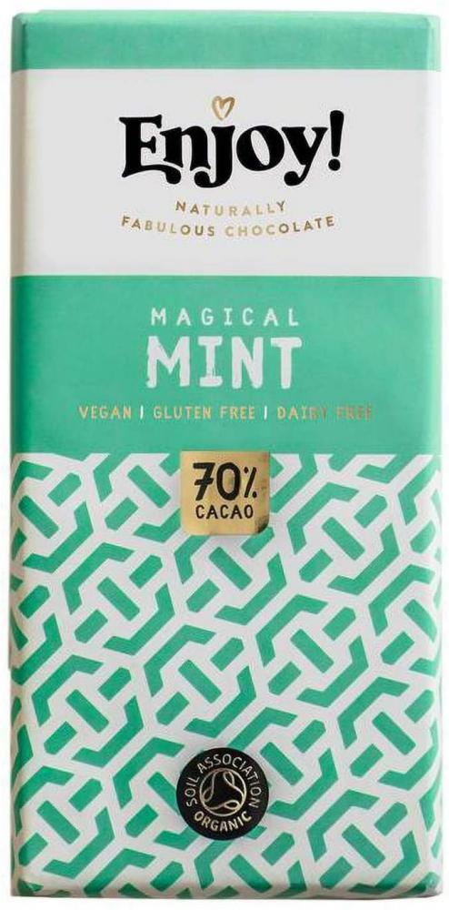 Enjoy Raw Organic 70 Percent Mint Chocolate Bar 70g