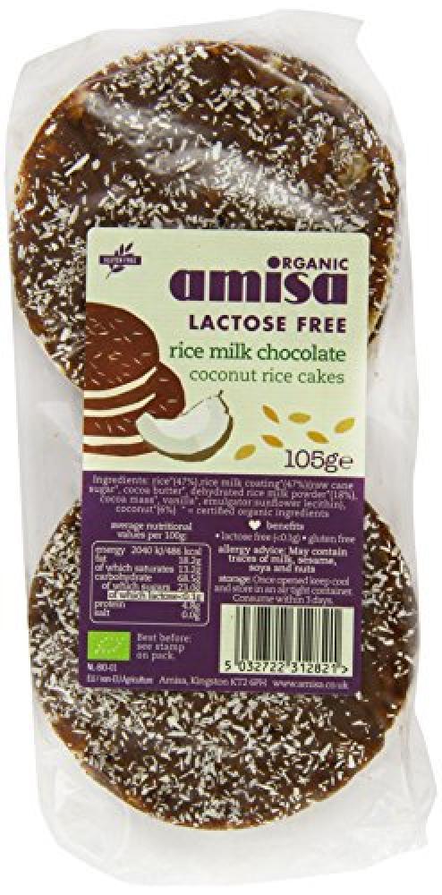 Organic Amisa Lactose Free Rice Milk Chocolate Coconut Rice Cakes 105g