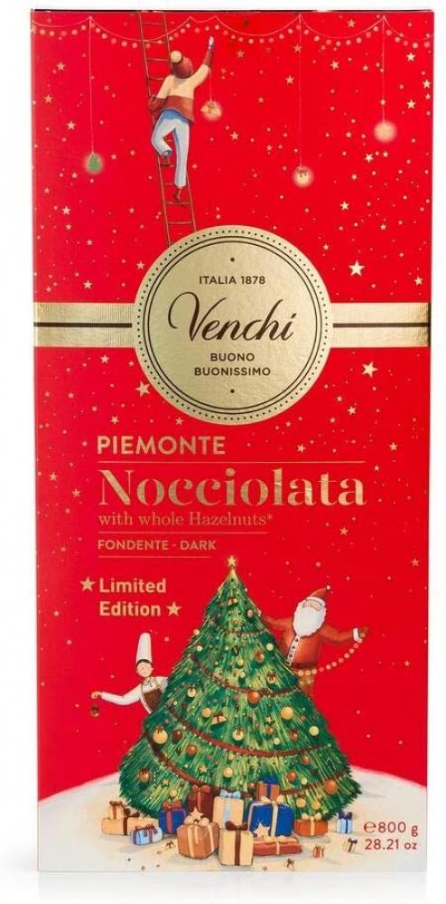 Venchi Giant Dark Chocolate Bar with Whole Piedmont Hazelnuts Christmas Gift 800 g