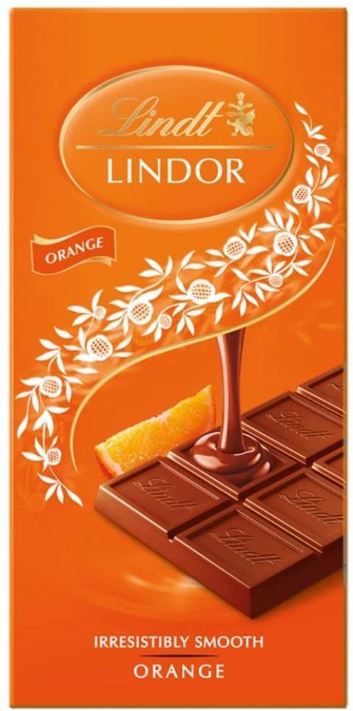 Lindt Lindor Milk Chocolate Orange Bar 100g