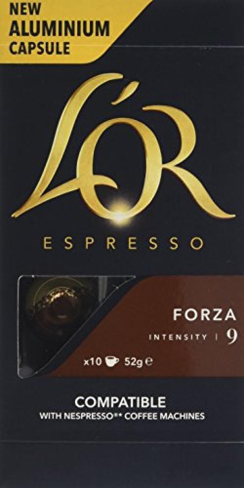 LOR Espresso Forza 10 Aluminium Nespresso Compatible Capsules Intensity 9 52 g