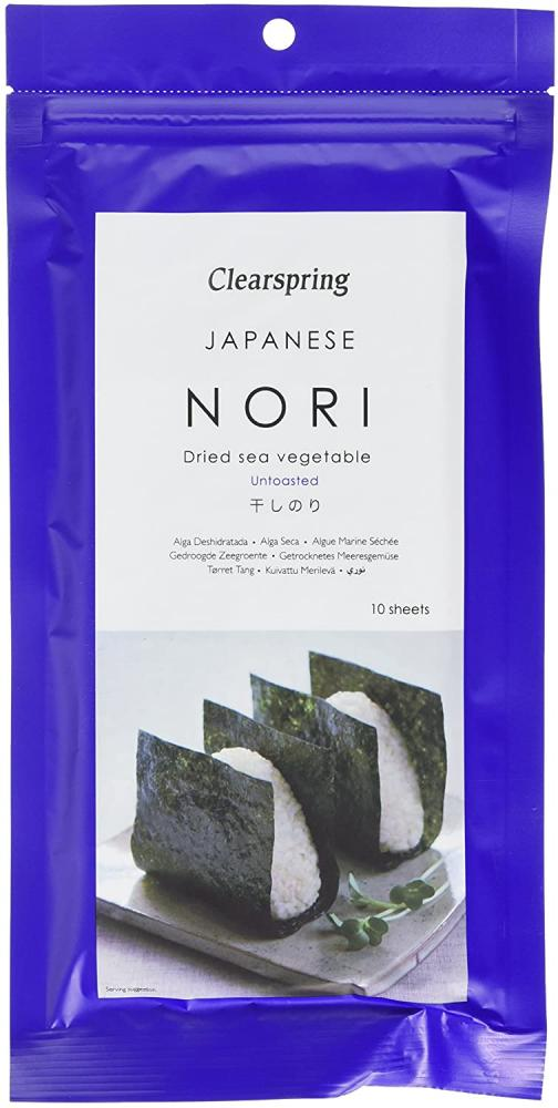 Clearspring Untoasted Japanese Dried Sea Vegetable Nori Sheets 25g