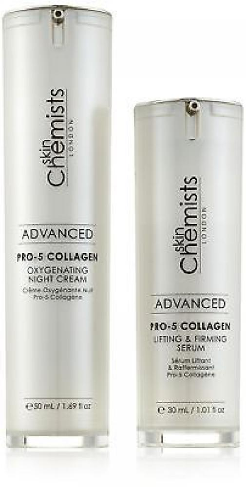 skinChemists Advanced Pro-5 Collagen Oxygenating Night Cream and Advanced Pro-5 Collagen Lifting and Firming Serum 30ml50ml