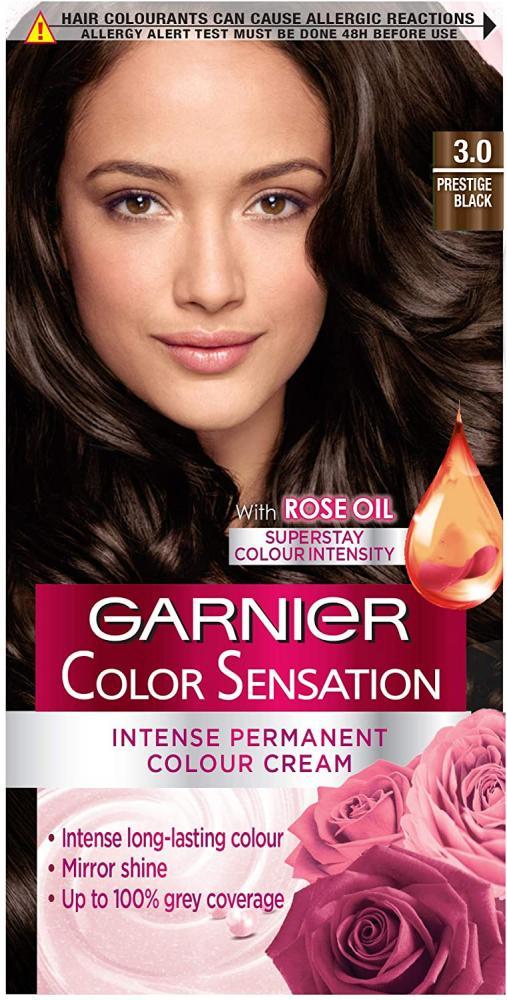 Garnier Color Sensation Black Hair Dye Permanent 3.0 Prestige Black Damaged Box