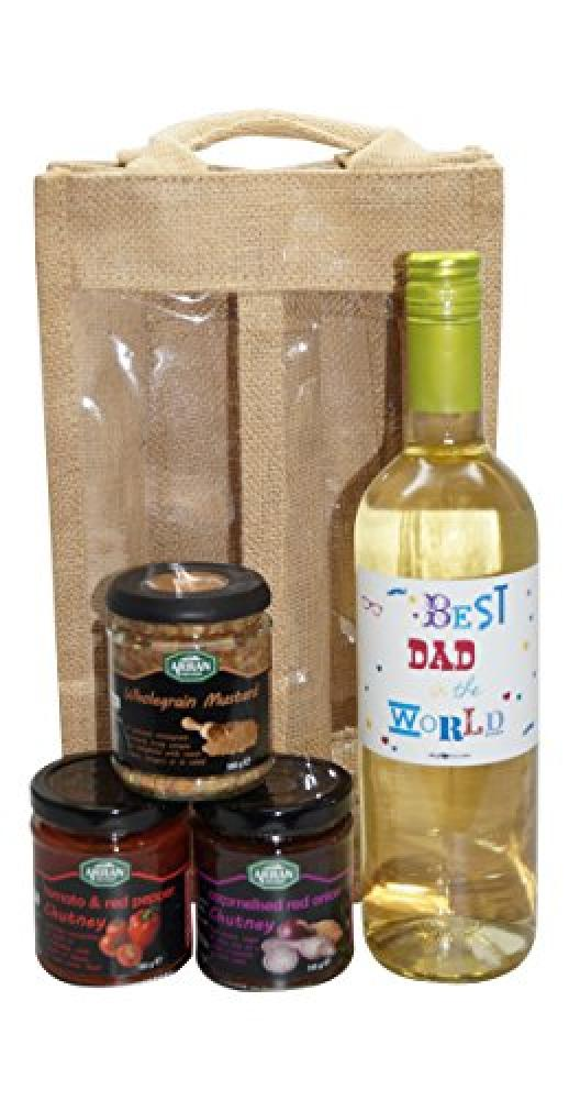 SUMMER SALE  Ukgiftbox Best Dad in the World White Wine and Chutney Gift Set
