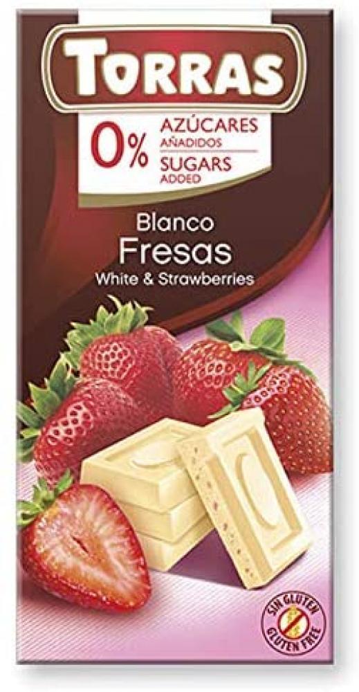 Torras No Added Sugar White Chocolate and Strawberry Bar 75g