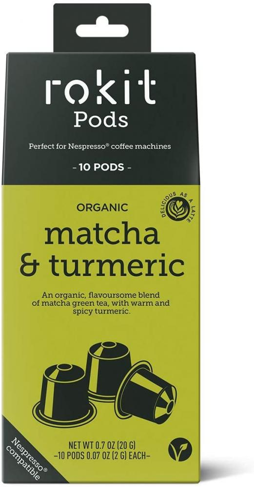 Rokit Pods Organic Matcha and Turmeric Instant Drink 10 pods