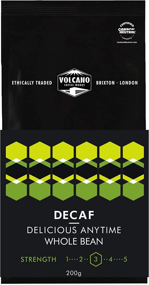 Volcano Coffee Works Single Origin Peruvian Decaffeinated Whole Bean Coffee 200g