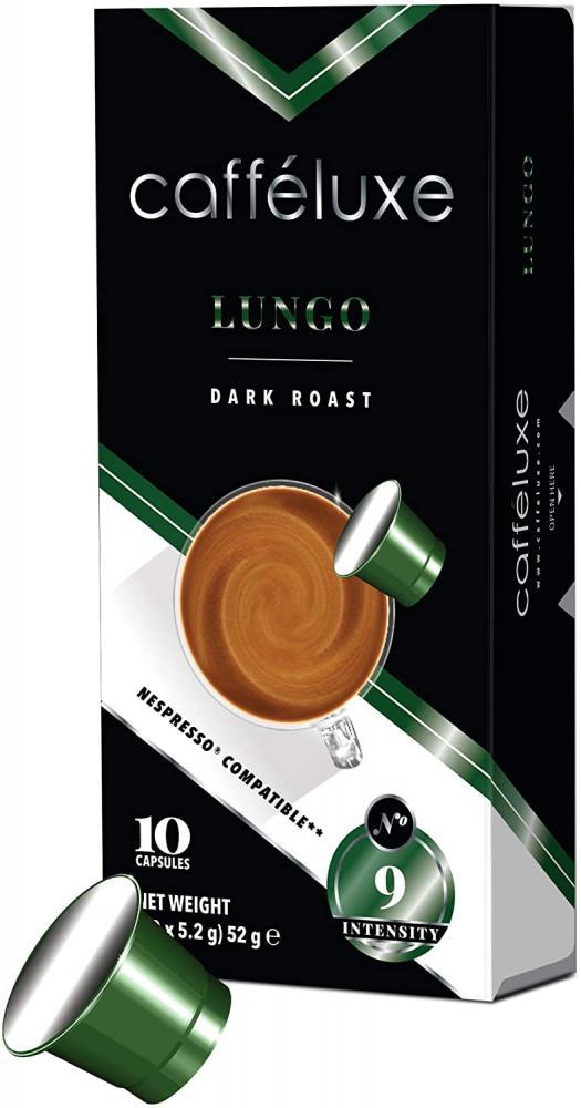 Caffeluxe Signature Lungo Dark Roast Premium Coffee Pods 10 Capsules