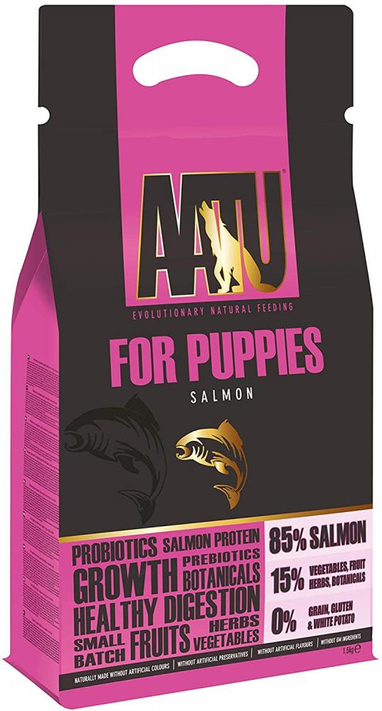 SALE  AATU Dry Dog Food for Puppies With Salmon Grain Free 1.5 kg