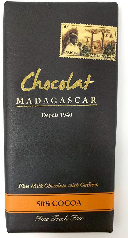 Chocolat Madagascar 50 Percent Cocoa - Single Origin Fine Milk Chocolate with Cashew Bar 85 g